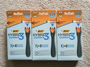 3 Pk BIC Hybrid Comfort 3 Men's 3-Blade Razor (1 Handle + 6 Refills each pack)