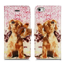 CAT DOGS PETS LEATHER WALLET PROTECT CASE COVER FOR APPLE iPHONE 4 5 6 7 8 & X