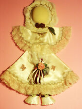 Beautiful Sachet Doll Dressed with Beige Satin & lace Hat Adorned Red Roses ExcC