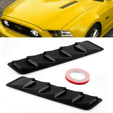 2x Universal Hood Vent Louver Scoop Cover Trim For Ford Mustang Matte Black ABS