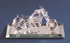 Glass Baron ~ Motorcycle Glass Figurine with Crystal Accents - NIB