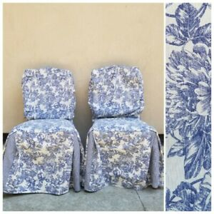 """2 Waverly Garden Room Toile Blue & Cream Floral Dining Room Chair Covers 42"""""""