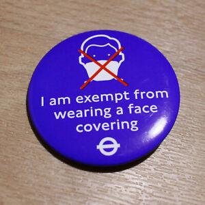 "Original London Transport TFL Plastic 2"" PIN BADGE Face Covering Mask Exemption"