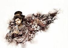 Incorniciato stampa-ASTRATTO giapponese geisha (PICTURE POSTER Oriental JAPAN ART)