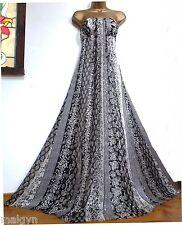 Vestido de noche MONSOON ✩ impresionante Bridgette Seda Marfil Negro Plata Largo ✩ Reino Unido 12