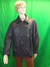 NWT BALENCIAGA  BLACK  BIKER DIAGONAL FULL ZIP LEATHER BELTED JACKET 36 4 S