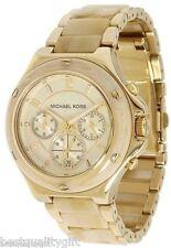 NEW MICHAEL KORS GOLD TONE,HORN ACRYLIC,S/STEEL,CHRONOGRAPH,DATE WATCH-MK5449
