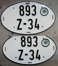 1967-1988 WEST GERMANY LICENSE PLATE # (893) Z-34 PAIR
