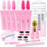Makartt Poly Nail Extension Gel Kit, Pink Nail Enhancement Builder Gel with Slip