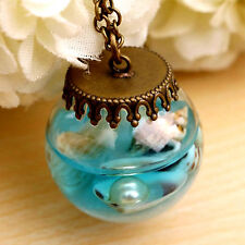 Glaskugel Urlaub Anhänger Halskette Ozean Muscheln Perle Sand antik bronze 2,5cm