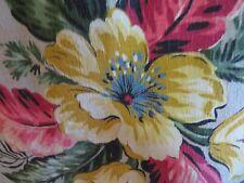Beautiful Vintage 40'S Hawaiin Florida Chic Nubby Barkcloth Dove Grey HotPink