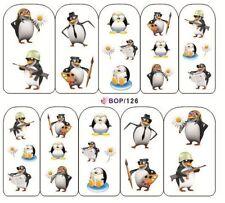 Nail Art de transferencia de agua Pegatina Adhesivos Calcomanías Lindo pingüinos (BOP126)
