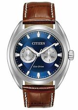 Mens Citizen Eco-Drive Brown Leather Blue Dial Day Date Casual Watch BU4010-05L