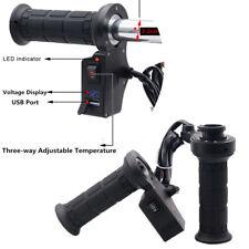 2Pcs Black 2.2 CM Electric Heating Grips Handle Three-way Temperature Adjustment