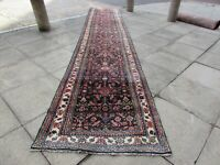 Vintage Traditional Hand Made Oriental Wool Blue 17 Foot Long Runner 520x100cm