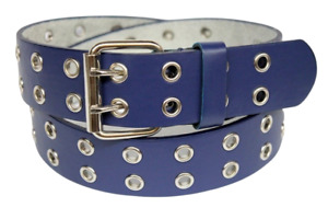 """Smooth Grain Two Hole Double Prong Buckle Durable Leather Belt 1.5"""" Width COLORS"""