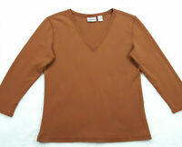 Chico's 1 (Womens Size 8) V-Neck Knit Top, Rust Brown, 3/4 Sleeve, Cotton Blend