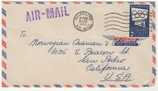 1955 Feb 25th. Air Mail. Melbourne to California. 2/- Blue Olympic Publicity.