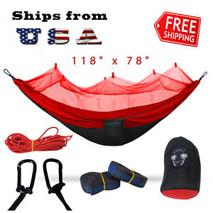 Double Outdoor Parachute Nylon Hammock with Mosquito Net Red - X-Large