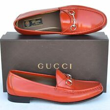 GUCCI New sz 34 - 4 Designer Horsebit Leather Womens Flats Loafers Shoes orange