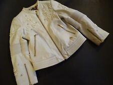 Roberto CAVALLI Kids bianchi Giacca di Pelle Biker Giacca con Perline Tg. 8/128