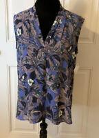 Halogen Top Size Medium Women's Blue Floral Print Sleeveless Top NWT