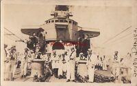 Postcard RPPC Navy Sailors on Ship USS South Dakota
