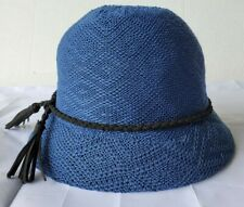 Women's Lady's Navy Cloche Hat with Narrow Braided Black  Band w/chic tassles.