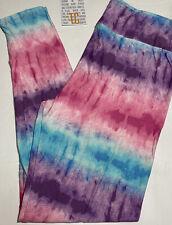 NEW TC LuLaRoe Tall & Curvy  Leggings Tie Dye Pink Purple Blue White Sz 12 - 16