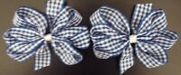 "2 ROYAL BLUE AND WHITE GINGHAM 3"" INCH RIBBON HAIR BOWS ALLIGATOR CLIP SET NEW"