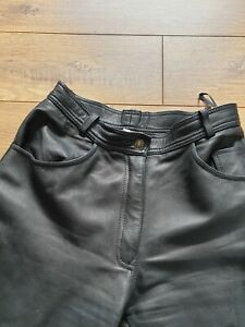 VTG 80s Black Soft Thick 100% Real Leather High Waist Tapered Leg Trousers 10 UK