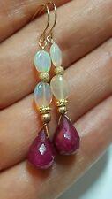 Ethiopian fire opal and briolette Ruby drop dangle earrings solid 14k gold