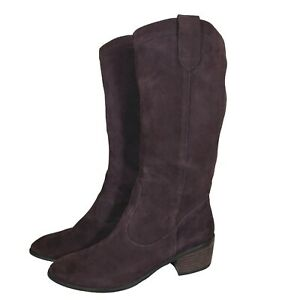 BANANA REPUBLIC Boots Brown Suede Knee High Boho Western Leather Long Zip 10M/41
