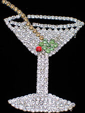 CELEBRATION PARTY WEDDING NEW YEARS COCKTAIL MARTINI GLASS PIN BROOCH JEWELRY 3""