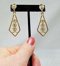 Vintage Gold Tone and Crystal Geometric Drop Dangle Earrings