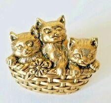 Vtg Avon ~Basket of Love~ Metal Kitten Pin Kitty Cats In Basket Cat Collectible