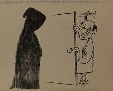 AXEL. Dessin original signé : religion, soutane, ombre, humour. Dessin de presse