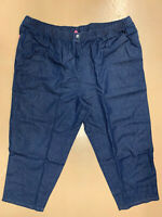 New! WOMAN WITHIN plus size 38 TALL dark wash blue pull-on elastic waist jeans