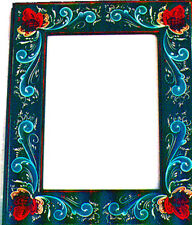 Picture Frame Blue Background Finished, Rosemaling Pattern Packet #39p