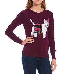 Women's NWT Joules Miranda Knitted Intarsia SZ 12 Crew Neck Sweater Plum Scotty