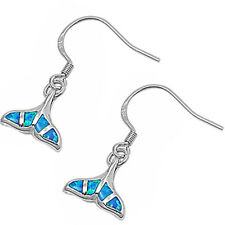 Blue Opal Whale Tail .925 Sterling Silver Earrings