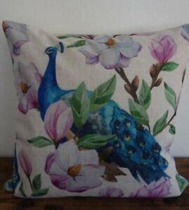 Teal Peacocks Pink Magnolia Linen Look Pillow Cushion Cover 45cmn