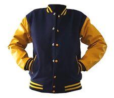 Original Windhound College  Jacke dunkel blau mit gelben Echtleder Ärmel XXL
