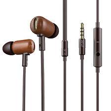 DZAT DF-10 Wooden Stereo Earbuds Full-range Balance In Ear Earphones with Mic