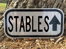 "STABLES HORSE sign 12""x 6"" - DOT style - Equestrian Jockey road sign style"