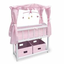 Canopy Doll Crib w/Shelf, Two Baskets, Mobile