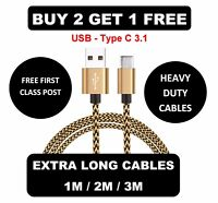 Extra Long USB Type C 3.1 Fast Data Charger Cable Lead for Huawei P9 P10 Honor