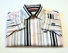 ENYCE Mens L Black Gray Red Striped Long Sleeve Mitered Cuff Pocket Dress Shirt