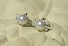 Ohrstecker Ohrring Gingko Blatt aus Sterling Silber 925 und Perle