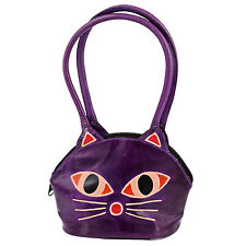 Leather Purple Cat Face India Shantiniketan Handmade Kids Purse Bag US Seller